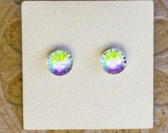 Dichroic Glass Earrings , Petite, Light Green/Lavender  DGE-1407