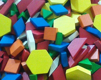 Vintage Wood Pattern Blocks, Lot of 41 Pattern Blocks, Kindergarten Toys, Daycare Blocks, Preschool Toys, Elementary School Educational Toys