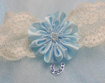 Something blue horseshoe charm wedding garter,  Wedding garters,  Garters