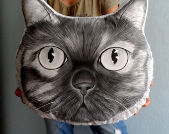 Custom Pet  Pillow Plush- XL size Monochrome , Cat Pillow, Dog Pillow , Personalized gift for pet lovers, cat gifts, dog gifts