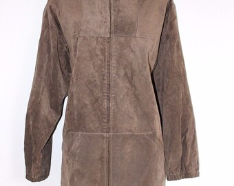 Vintage Brown / Taupe 100% Real Leather Suede ASHLEY BROOKE Hooded Women's Parka Jacket Coat Size UK10 UK12