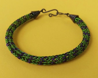 """Green and Purple """"Incredible Hulk"""" Viking Knit Bracelet with hook clasp"""