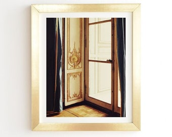 French Doors Ready-to-Hang Framed Wall Art, Chateau Versailles French Rococo Paris, Gold White Framed Print, Queen Marie Antoinette's Palace