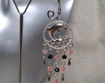 These Dolphin earrings Orange and black