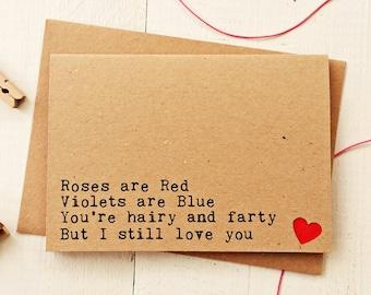 Funny Love Cards - Funny Boyfriend Card - Husband Card - Anniversary Card - Card For Husband - Funny Birthday Card - Handmade Cards