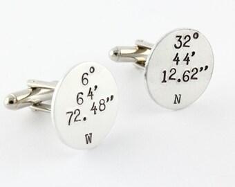 Coordonnées boutons de manchette - personnalisé rond boutons de manchette - chemise attaches - boutons de manchette en Latitude - Longitude boutons de manchette - boutons de manchette GPS - maillons en argent