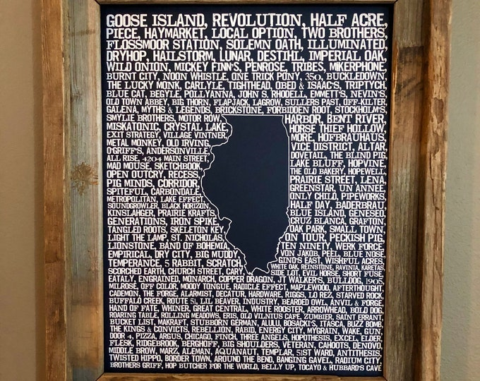 Beers of Illinois Word Map (Dark Blue) - Unframed