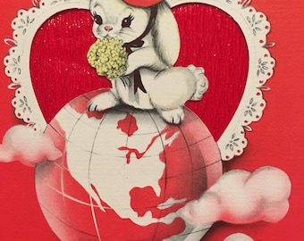 Vintage Valentine Card Unused NOS Wife Vintage Bunnies Fifties