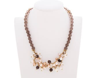 Women's necklace in silver 925 with hard stones-cultured pearls, hematite, quartz