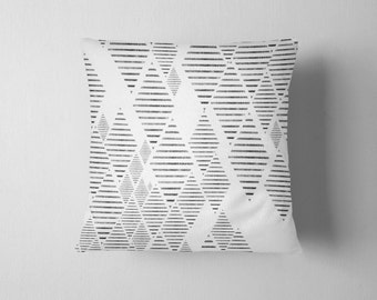 Geometric tribal diamond pattern throw pillow