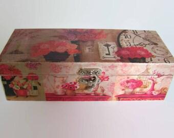 Decoupage Wooden Tea Box - Shabby Chic Floral Kitchen Storage -  Decoupage Tea Caddy - Cottage Chic Decor