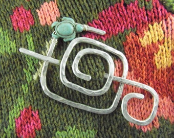 Shawl Slide/Brooch/Pin Silver Abstract Square Spiral with Turtle