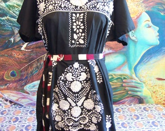 Mexican Dress, Embroidered, Black, Frida, knee length L