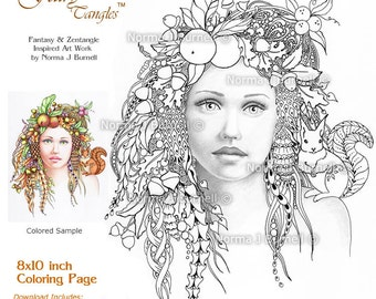 October Autumn Fairy Tangles Adult Printable Coloring Sheets by Norma Burnell Coloring Book Pages Fairies Squirrel Grayscale Images to color