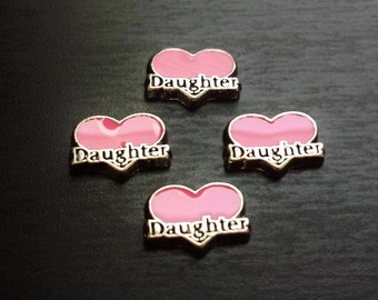 Daughter Floating Charm for Floating Lockets-Pink Heart-Idea for Women