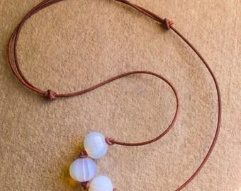 Opalite Necklace, Greek Leather Necklace,  Adjustable Necklace,  Minimalist Jewelry