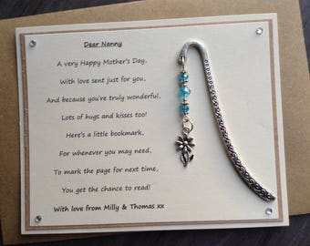 Personalised Mother's Day Poem Magnet with flower charm bookmark and choice of bead colour. Mum, Nan, Grandma, Auntie, Mummy, Nanna.