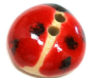 """Ceramic LADYBUG Button, Handmade insect button, 3/4""""."""
