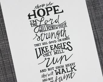 """Isaiah 40:31 Hand Lettering Print (8""""x10"""")"""