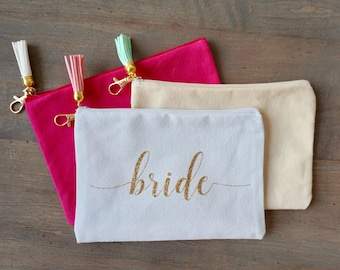 Personalized Cosmetic Bag Makeup Bag w/ Tassel Keychain - 8x5.5 inches   Bridal Party Proposal Gift Box   Custom Canvas Pouch   Bridesmaid