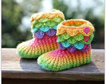 CROCHET PATTERN: Dragon Crocodile Stitch Boots (Child Sizes) - Permission to Sell Finished Product