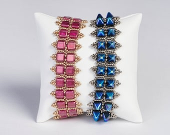 Gypsy Bracelet Pattern using 6mm Tile or Pyramid and Seed Beads - PDF  Tutorial Beading
