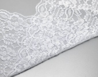 4.50 metre lace Ribbon, lace, elastic, white, Ribbon, Sptizenborde, 19045
