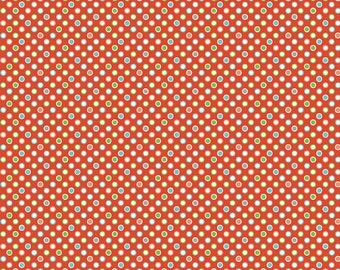 Red Polka Dots Cotton Fabric in Yard, 3/4, Half and 1/4 Wheels 2 Dots Red for Quilting Sewing Applique and  Boy Fabric by Riley Blake