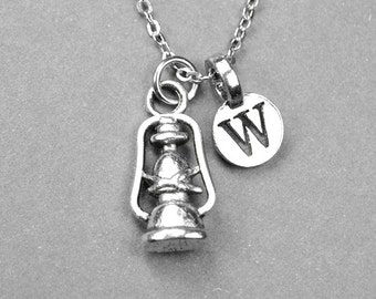 Lamp Necklace, Lantern Necklace, camping lamp, antiqued silver plated, pewter, personalized jewelry, initial necklace, monogram letter