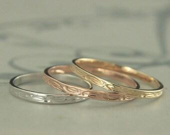 Gold Stacking Ring~Gold Wedding Band~Women's Gold Ring~Women's Gold Band~Vine Design Ring~Vine Band~Flower Design Ring~Flower Band~Floral