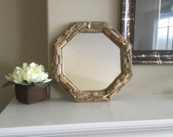 Octagon driftwood mirror