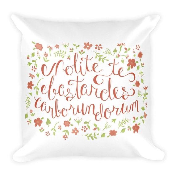 Don't Let the Bastards Grind You Down - Orange Floral Pillow
