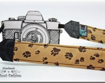Camera strap, camerastrap, DSLR, Paw, brown