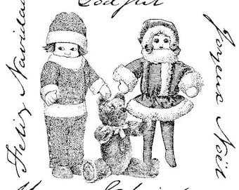 EZ Mounted Rubber Stamp Vintage Style Christmas Dolls Collage with Writing Altered Art Craft Scrapbooking Cardmaking Supply