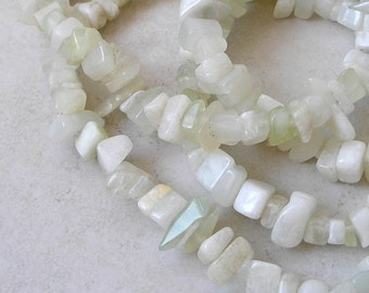 Pale Green New Jade Beads Serpentine Chip Nugget For Beaded Jewelry Making Metaphysical Healing Stone