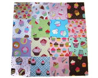 """Cupcake Fabric Scrap Pack, 5"""" Fabric Squares , Cotton Fabric Scraps, Designer Cotton Fabric Scraps, Crafter's Scraps, 24 Squares"""