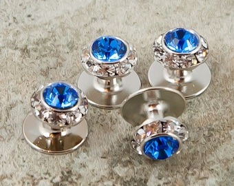 25 colors, Crystal shirt studs, silver or gold finish.  Swarovski crystal shirt studs, Tuxedo shirt studs, Groom accessories