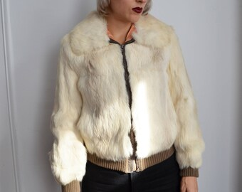 Vintage 70s 80s Fur Bomber Jacket Coat White Ivory Cream Brown Knitted Leather Hollywood Glam Studio 54 Disco 1970s 1980s Rabbit Cropped