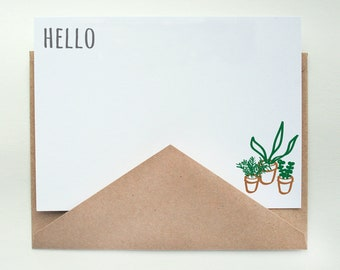 Tiny Plants Stationery -- Hello -- Set of Flat Notes and Envelopes- CHOOSE your QUANTITY