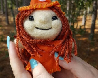 Needle felted Witch-art doll-handmade collectible felt doll- Orange Witch-wicca