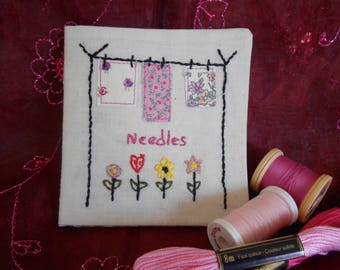 Needle Case, Hand Embroidered, Sewing Accessories, Gift for Crafter, Vintage Style