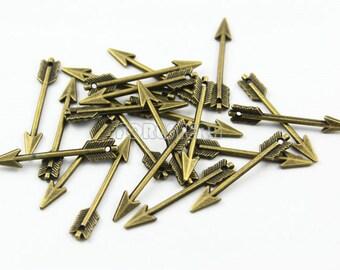 25Pcs 29x5mm Antique Brass Arrow  Charm Pendant (PND019)