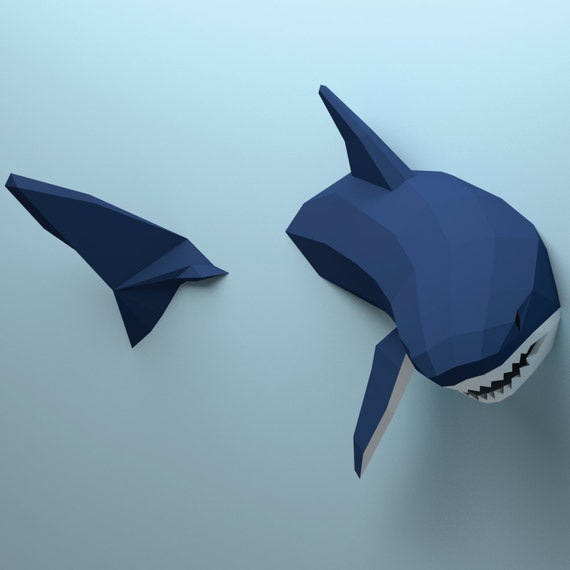 Low Poly Shark Model Create Your Own 3d Papercraft Shark Origami