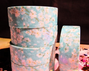 Gorgeous Pink Cherry Blossoms on Sky Blue Background Washi Tape