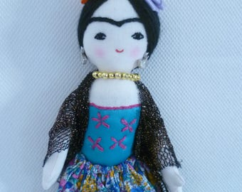 Frida Kahlo Handmade Doll, Mexican Artist, Folk Art Doll, Collectible