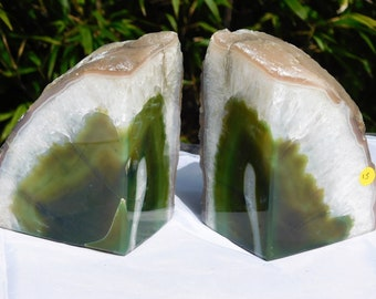 AB15) Green Agate Quartz Crystal Bookends House Office Gift 2.08 KG