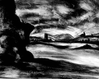 Charcoal Mountains Landscape Drawing Print