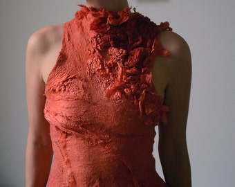 Nuno felt top from silk and wool natural dyes eco fashion ooak wearable textile art