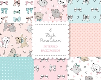 Kitty Cats PATTERNED BACKGROUND set-instant download-for personal use-digital papers, bows, kittens, hearts, hand drawn, pink