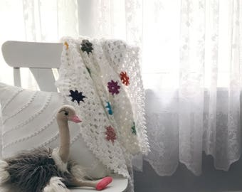 READY TO SHIP . polka dot hand crocheted baby blanket . stroller blanket . multi colored .